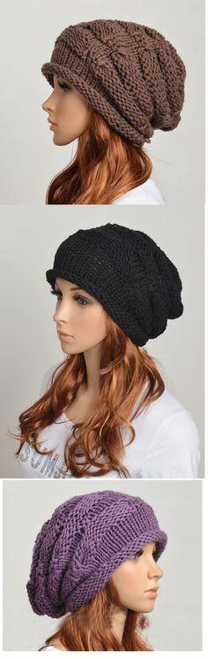 Wool Handmade Knitted Crochet Hat Woman Clothing - Brown-Black-Purple favorites
