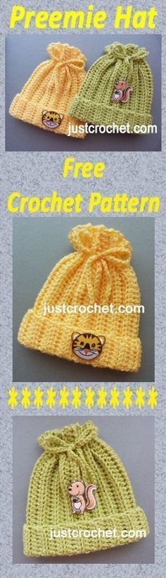 Free baby crochet pattern for preemie hat. Free baby crochet pattern for preemie hat. Crochet Preemie Hats, Crochet Baby Beanie, Crochet Beanie Pattern, Crochet Kids Hats, Crochet Ideas, Knit Hats, Newborn Crochet, Crochet Clothes, Crochet Hat Patterns