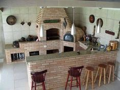 "Resultado de imagem para ""trio fogao a lenha forno de pizza churrasqueira . Backyard Kitchen, Summer Kitchen, Outdoor Kitchen Design, Bbq Grill, Barbecue, Outdoor Oven, Bbq Area, Rocket Stoves, Home Landscaping"
