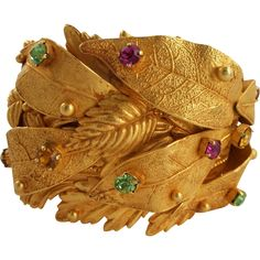 Designer Dominique Aurientis Jeweled Leaf Cuff Runway Bracelet With Rhinestones I Love Jewelry, Modern Jewelry, Jewelry Making, Flower Jewelry, Jewelry Ideas, Vintage Costume Jewelry, Vintage Costumes, Vintage Jewelry, Bangles