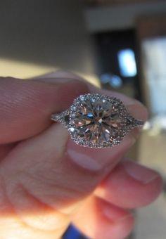 Real Ritani Engagement Rings - Cushion Cut Split Shank 'V' Pavé Diamond Engagement Ring in White Gold