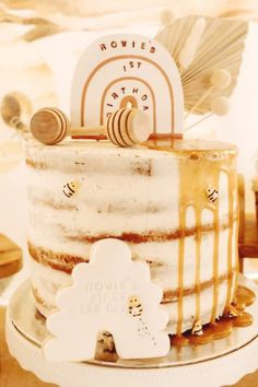 Don't miss this sweet bumblebee 1st birthday party! The cake is so pretty!!  See more party ideas and share yours at CatchMyParty.com #catchmyparty #partyideas #bumblebee #bumblebeeparty #1stbirthdayparty #bees #honey #cake