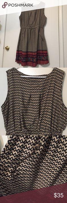 Cute print dress Sleeveless printed dress. Never worn. Just a tad small on me. Has zippered pockets!! Super cute! Dresses Mini