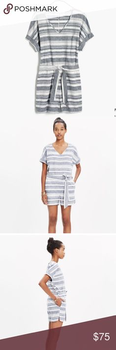 Madewell - Perimeter Romper in Stripe - Large Super cute striped romper to get you ready for spring! Bought from Madewell and wore it only once. It's too big for me and I have to let it go. Happy to answer any sizing questions. Madewell Dresses