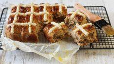 Gluten-free hot cross buns with orange glaze.