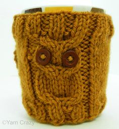 Owl Mug Cozy // Hand Knit