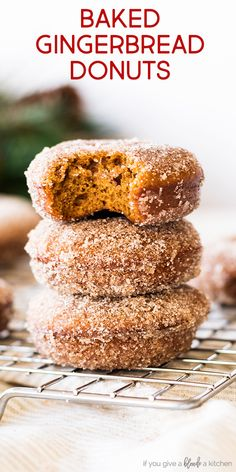 Christmas gingerbread donuts are baked in donut tins to make a festive holiday breakfast treat. The homemade donuts are coated in ginger cinnamon sugar. Try the recipe for Christmas morning! | www.ifyougiveablondeakitchen.com