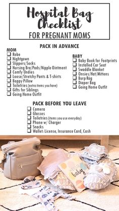 Printable Hospital Bag Checklist for Pregnant Moms - Everything you need to pack for labor.