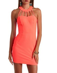 neon strappy caged-neck bodycon dress