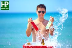 Photography: Happy <b>man</b> with <b>drinks</b> and water splash <b>on the beach</b> party Healthy Summer Recipes, Summer Snacks, Summer Drinks, Beach Drinks, Beat The Heat, Fruit Drinks, Drinking Water, Stay Fit, Healthy Lifestyle
