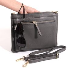 Italian Leather Cross Body Shoulder Bag with 2 Compartments Leather. Everyday Activities, Italian Leather, Evening Bags, Leather Crossbody Bag, Dark Grey, Cross Body, Shoulder Strap, Purses, My Style