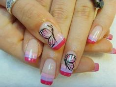 Shades of pink butterfly nail design. Butterfly Nail Designs, Colorful Nail Designs, Pink Butterfly, Gorgeous Nails, Pretty Nails, Les Nails, Super Cute Nails, Nail Candy, French Tip Nails