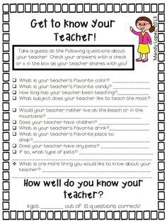 How well do you know your teacher? Edit for comprehension or things that I give clues toward with my appearance, words, or can be found in the room.