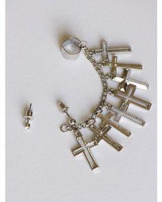 Multi Chain Cross Earring