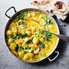 Low-calorie #Pea and #PotatoCurry tastes sublime with hot rotis or naan. You'll find the recipe for this guilt-free winner in the August issue of BBC Good Food India.