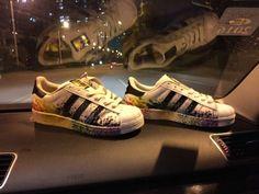 D70351 Fashion Shoes 2015 Adidas Originals Superstar Pride Rainbow Paint Splatter White Black
