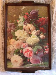 Vintage Tray Antique Roses Print Picture Jean Baptiste Robie on Ebay