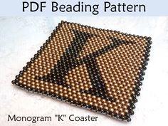 Monogram K Peyote Coaster PDF Beading Pattern