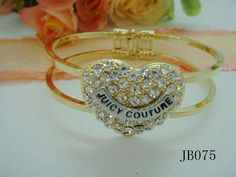 Juicy Couture Bracelet With Crystal Peach Heart In Golden  $24.00