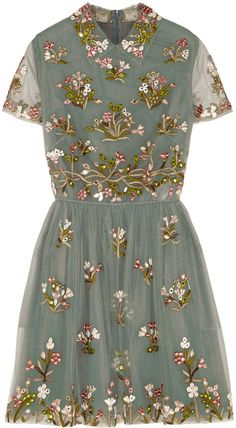 Valentino Embroidered Tulle Mini Dress