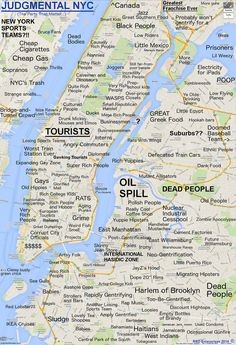 And There's a New Judgmental Map of NYC! An all new Judgmental Map by Joe Larson extends the commentary out to Brooklyn, part of Queens and the Bronx. Where do you live? (Great map that's gone viral in NYC this week) New York City Map, City Maps, Voyage New York, I Love Ny, City That Never Sleeps, New York Travel, Plans, The Neighbourhood, New York