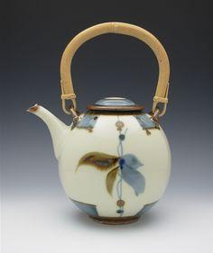 Sam Scott  L Kiln Manufacturing - PURCHASE AWARD  Brushwork Teapot  12x9x7  Porcelain; ^12 reduction