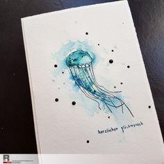 ... aus der Serie, die sich toll aquarellieren lässt, natürlich wieder in meeresblau. Keine Sorge - in den nächsten Tagen komm...