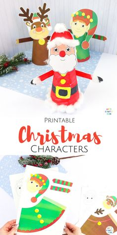 Make Printable Christmas Characters with the kids this festive season. A fun and easy Christmas craft that kids will love, with three designs to print. Easy Preschool Crafts, Easy Arts And Crafts, Paper Crafts For Kids, Easy Crafts For Kids, Craft Activities For Kids, Winter Activities, Kids Diy, Craft Ideas, Christmas Crafts For Toddlers
