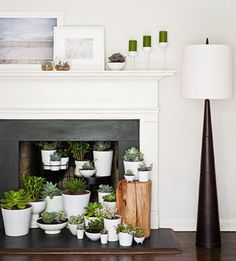 If your hearth just sits empty in the off-season, why not decorate the space? We created an indoor garden, filling it with pretty, low-maintenance succulents, which also camouflage the cinder-stained firebox. Just be sure to choose plants that don't need direct sunlight.