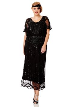Black Angel Sleeve Prom Maxi Dress 1920s inspired Flapper