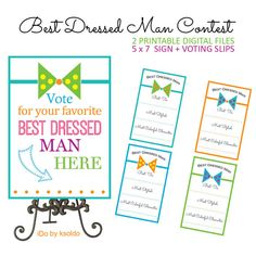 Best Dressed Man Contest - Sign + Voting Slips - Printable