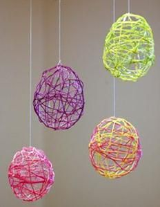 Cute Easter decoration idea -- embroidery floss stiffened with fabric stiffener wrapped around small balloons