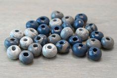 Polymer Clay Beads - Handmade - blue slate gray - 6mm - 30 pcs. $14.00, via Etsy.