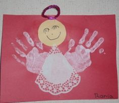 Angel christmas craft....also nice for having their hand print.  :D