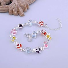 925 Sterling Silver Rubiks Cube Bracelet & Earring Set 3-5 DAY SHIPPING