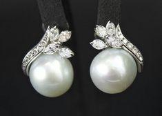 Beautiful diamond and pearl earrings