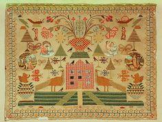 Sampler  Date: 1808 Culture: British Medium: Silk, metal thread, paper, hair and mica on wool canvas