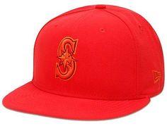 Custom Seattle Mariners Hot Red Tonal Pop 59Fifty Fitted Baseball Cap by NEW ERA x MLB