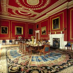 Dining Room, Attingham Park, England. Large Axminster Rug c.1800 Mahogany Regency dining-table c.1810 French ormolu table setting by Pierre-Phillippe Thomire C.1810