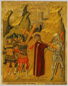 Christ Bearing the Cross, ca. 1489–1500  Nicolaos Tzafouris (active by 1489, d. 1500)  Greek (Crete)  Oil and tempera on wood, gold ground