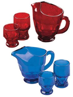 For 40 years family-owned and operated Mosser Glass has been handcrafting elegant yet durable glassware to be used in today's home and passed down to the next generation. Each piece of this glassware captures the light for a brilliant effect. Available in Ruby Red and Cobalt Blue, the Georgian tumblers and pitcher feature the telltale thumbprint design that makes this pattern so beautiful and practical. Tumblers available in a 9 oz and 12 oz size. Pitcher is 54 ozs.
