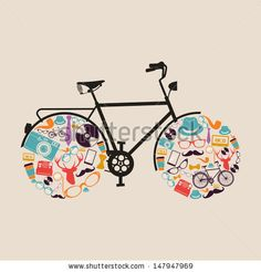 Hipster bicycle with retro icon set wheels. Vector file layered for easy manipulation and custom coloring. - stock vector