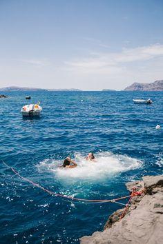 Rock Jumping, Santorini - The Londoner Beach Aesthetic, Summer Aesthetic, Travel Aesthetic, Flower Aesthetic, Summer Vibes, Summer Feeling, European Summer, Italian Summer, French Summer