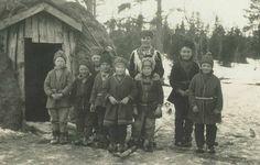 Sami children in front of their school, Sweden.