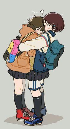 60 ideas drawing poses reference friends - Everything About Anime Anime Best Friends, Friend Anime, Cartoon Kunst, Cartoon Art, Hug Pose, Hugging Drawing, Poses Anime, Art Mignon, Art Manga