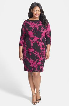 Free shipping and returns on Adrianna Papell Abstract Print Crepe Sheath Dress (Plus Size) at Nordstrom.com. A shadowy floral print bursts across a fluid crepe sheath designed to fit in all the right places. Supple contrast trim highlights the elegant neckline and three-quarter sleeves frame the flattering design.