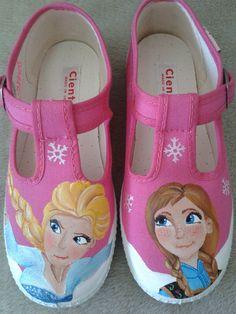 zapatillas pintadas a mano. Frozen