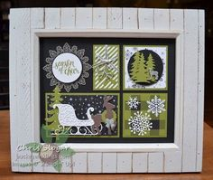 """I designed a new sampler for my favorite 8"""" x 10"""" frame, and I will be offering it as a class to my local customers in early December. It's quite simple, with almost no stamping and just one color. I used the Merry Little Christmas Designer Paper as my inspiration. I am making this project available as a Class Planner only ($5) or a Kit ($20, includes shipping).Please visit my Classes To Go page for more details. Have a great day!"""