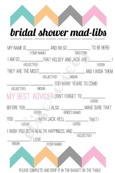free bachelorette party mad libs | Printable Bridal Shower MadLib by EliseMartinezDesign on Etsy