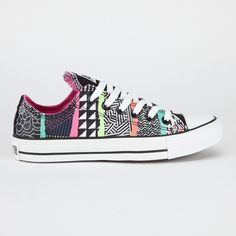 ded527dc115 Converse Chuck Taylor All Star shoes. Canvas upper with all over mixed  pattern print. Rubber Converse All Star heel badge. Converse All Star label  woven on ...